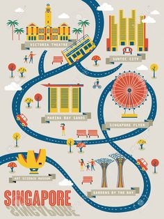 illustration of singapore travel map with lovely attractions in flat design vector art clipart and stock vectors
