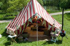 strawberries & cream bell tent retro camping