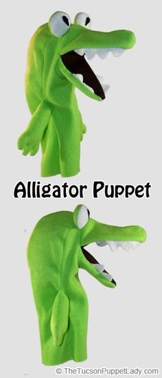Alligator hand puppet sewing pattern available from Craftsy for $5. Made from fleece, felt and foam.