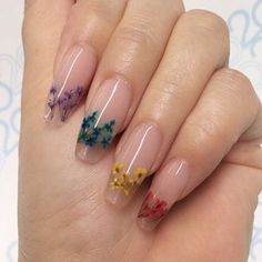 The Dried Flower Nail Art Designs can be created on fingernails of any appearance and width, and can be adapted to any blush combination and any textural flower pattern. Dried Flower Nail Art Designs is the best acceptable, because flowers are the s Cute Acrylic Nails, Gel Nail Art, Acrylic Nail Designs, Cute Nails, Pretty Nails, Nail Art Designs, Nails Design, Flower Design Nails, Clear Nail Designs