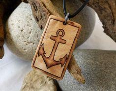 Anchor Necklace Anchor Pendant Nautical Wood Necklace by SepiaTree, $29.99 #nautical #anchor #sailor #mens #mensjewelry #mensnecklace #formen