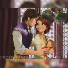 Eugene, Rapunzel, and child