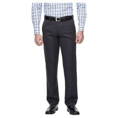 Haggar H26 - Men's Straight Fit Pants Charcoal Heather