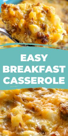 This Easy Breakfast Casserole comes together in no time for a weekend breakfast! Combine eggs with sausage frozen hashbrown potatoes and cheese for the ultimate easy breakfast or brunch casserole! Best Breakfast Casserole, Brunch Casserole, Easy Casserole Recipes, Breakfast Dishes, Breakfast Time, Healthy Breakfast Recipes, Brunch Recipes, Egg Bake With Hashbrowns, Recipes
