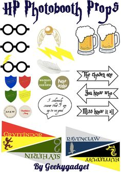 HP Photo booth printables Harry Potter inspired by Geekygadget