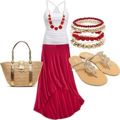 LOLO Moda red maxi skirt white tank red accessories sandals and summer tote bag. cute for summer or of july Fashion 90s, Fashion Moda, Look Fashion, Fashion Outfits, Womens Fashion, Fashion Trends, Net Fashion, Summer Outfits, Casual Outfits