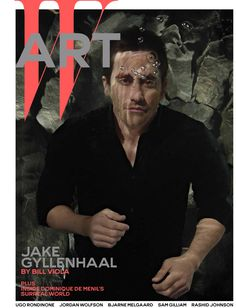 Jake Gyllenhaal by Bill Viola - Jake Gyllenhaal on W's December 2014 Art cover. Gyllenhaal wears Boss shirt and pants.-Wmag