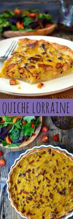 """La quiche lorraine es un plato muy sencillo y sabroso. Mi versión es totalmente vegana desde la masa brisa hasta el relleno y el """"bacon"""" ahumado. Es una opción riquisima para un brunch dominguero, almuerzo o cena vegetariana."""