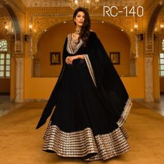 Silk A Line Lehenga Choli In Black Colour Black Colour Georgette Silk A Line Lehenga Choli Comes With Matching Banglori Silk Blouse Fabric. This Lehenga Choli Is Crafted With Embroidery,Lace Work. This Lehenga Choli Is Semi Stitched and Blous. Lehenga Choli Designs, Bridal Lehenga Choli, Lehenga Designs Latest, Bollywood Lehenga, Ghagra Choli, Indian Attire, Indian Wear, Indian Outfits, Party Wear Lehenga