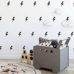 Lightning Wall Decal, 3.5inX2in, Lightning Bolt Decal, Kids Room Decor, Lightning Bolt Sticker, Boys Decals, Modern Wall Decals For Boy, 273