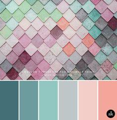 a rainbow-wall-inspired color palette // pastels, blue, aqua, gray, peach - Yurrina Kids - Living Room Decor Colors, Living Room Color Schemes, Bedroom Colors, Color Schemes Colour Palettes, Colour Pallette, Color Combos, Colour Colour, Gray Color, Interior Colour Schemes