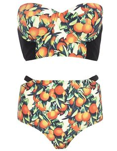 Pin for Later: 20 High-Waisted Bikinis For Retro Beach Babes Orange Groove River Island orange-print bandeau top (£16) and high-waist bottoms (£12)