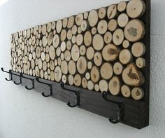 maple wood slice rustic wood coat rack...love this