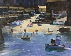 """Trevor WaughMoushole harbour, Cornwall / oil on board 20""""x16"""""""