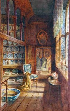 Charles Essenhigh Corke: Lady Betty's China Closet At Knole House, Sevenoaks  Victorian British Painting: C is for Charles