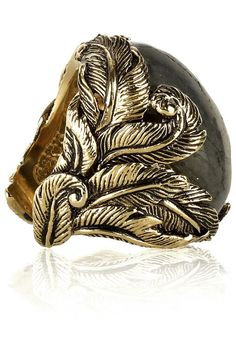 Roberto Cavalli Oversized Labradorite Ring - 'sculpted from black-sprayed, yellow-gold tone brass, features a large mount decorated with sophisticated feather otif, and a raw-finished Labradorite cabochon, which beautifully intertwine in an amazing accessory, bound to highlight a neo-bohemian outfit.' #rings #jewellery