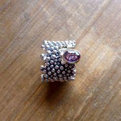 Bague perles d'argent améthyste sertie or 18 carats