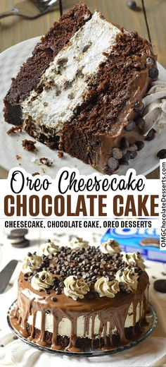 Creamy no-bake Oreo cheesecake filling sandwiched between rich, moist chocolate cake dripping with a milk chocolate ganache. Oreo Cheesecake Chocolate Cake, so decadent chocolate cake recipe. Chocolate Filling For Cake, Chocolate Oreo Cake, Decadent Chocolate Cake, Chocolate Cheesecake, Chocolate Desserts, Chocolate Cake Fillings, Oreo Cheese Cakes, Chocolate Chips, Dessert Oreo
