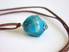 Bright Turquoise Blue Agate Necklace / Blue Stone by minxandmaven