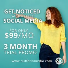 Consistency is key to social media success. If you are struggling to keep up with posting consistently to your social media profiles this trial package would be a perfect way for you to test out our services! ‎GET NOTICED WITH FABULOUS SOCIAL MEDIA FOR ONLY $99/MO 3 MONTH TRIAL PROMO www.dufferinmedia.com