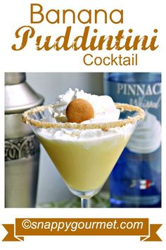Banana Puddintini Dessert Cocktail Recipe | snappygourmet.com #cocktail