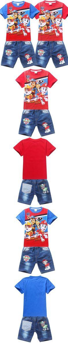 2016 Summer Boys Clothes Sets Kids Clothes Short-Sleeve Cartoon T-Shirt + Jean Pant Boys Fashion Clothing Set
