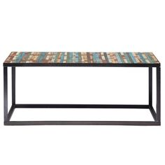 Mesa baja de metal y madera de colores An. 100 cm
