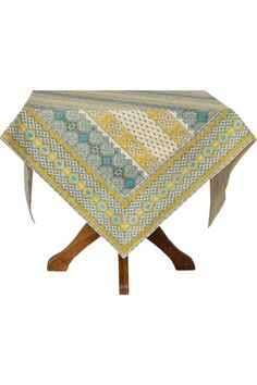 "The table cloth by April Cornell is incredibly beautiful and decidedly different. The fun color palette blends vibrant turquoise dusty baby blues and soothing citrine with a balancing antique base. The overall affect brings to mind the peaceful presence of the seaside. A cool collection of our inspired geometric designs channels a sophisticated Moroccan sensibility.  Measures: 90"" x 60""  French Lotus Tablecloth by April Cornell. Home & Gifts - Home Decor - Dining - Table Linens Boulder…"