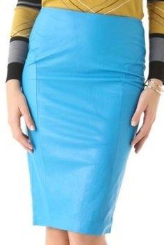 Kim wears a Malene Birger Leather Zip Pencil Skirt