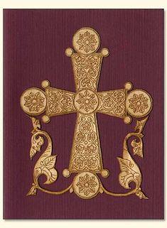 byzantine cross | Byzantine Cross and Flowers Wood Veneer Card