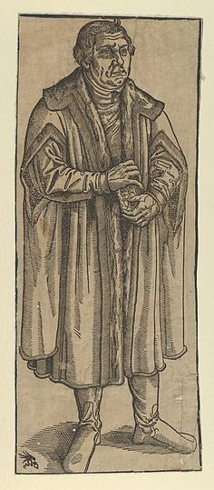 "After Lucas Cranach the Younger (German, Wittenberg 1515–1586 Wittenberg) Copy of Martin Luther, Full Length.  In this copy, Luther is taken out of the landscape he is originally showed in in the Lucas Cranach the Younger entitled ""Martin Luther, Full-Length in a Landscape."" (See Hollstein)"