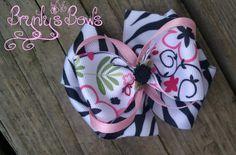 Zebra/Flower Print Pinwheel Hair Bow ♥ Brynly's Bows - Find us on Facebook!