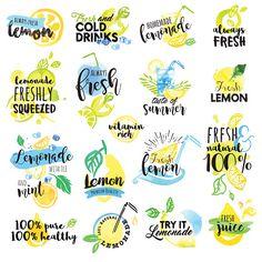 Stock Vector: Hand drawn watercolor labels and signs of lemon and lemonade
