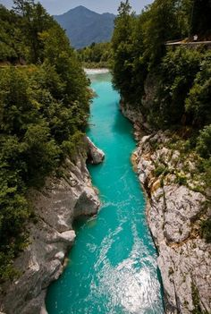 Kobarid, Slovenia.  Such amazingly beautiful water on the Soca River in Kobarid!