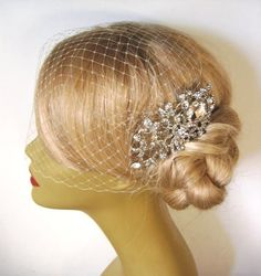 Birdcage Veil and a Hair Comb , Rhinestone Bridal Hair Comb, Weddings, Silver, (2 Items),Blusher Bird Cage Veil on Etsy, $67.00