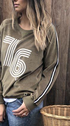 Hammill + Co Winter 76 Velour Sweatshirt Khaki   The Rock Box Store