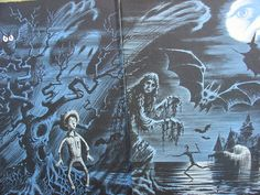 Alfred Hitchcock's Haunted Houseful (1963) illus. by Fred Banbery  I used to stare at these illustrations and scare myself silly when I was a kid.