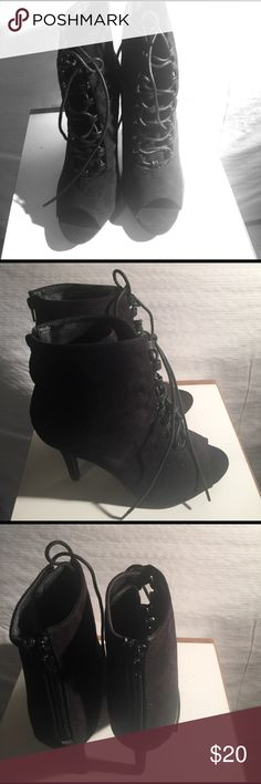 Size 9 black lace up booties Size 9 black lace up booties..man made suede material..NWOT. Q by Esquire Shoes Heeled Boots