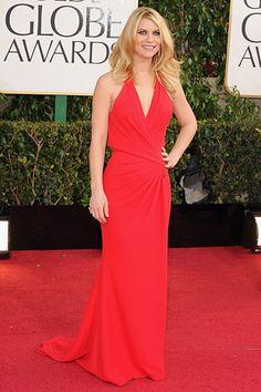 Claire Danes in Versace - Pictures from 2013 Golden Globes Red Carpet - Harper's BAZAAR