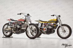 Yamaha TZ750 Dirt Trackers 1970's.  #32 Steve Baker (Yamaha Canada) &  #1 Kenny Roberts (Yamaha USA).