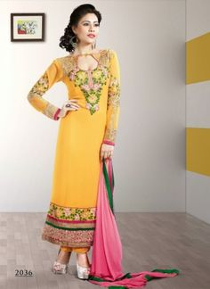 Fentastic Golden Pure Georgette Embroidered Churidar Suit
