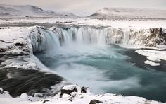 Godafoss waterfall on the Skjalfandafljat river in snow covered landscape. Picture: Orsolya Haarberg/NPL/Rex Features