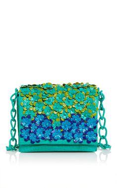 Green crocodile floral shoulder bag by NANCY GONZALEZ for Preorder on Moda Operandi Bags Online Shopping, Floral Shoulder Bags, Unique Purses, Blue Purse, Couture, Beautiful Bags, Bag Sale, Handbag Accessories, Crocodile