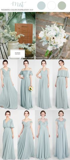 mist wedding color inspiration ides with bridesmaid dresses 2019 - Bridal Gowns Spring Bridesmaid Dresses, Green Bridesmaid Dresses, Colored Wedding Dresses, Wedding Bridesmaids, Affordable Bridesmaid Dresses, April Wedding Colors, Elegant Wedding Colors, Classic Wedding Dress, Rustic Wedding Gowns