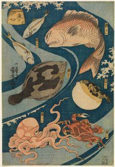 Utagawa Kuniyoshi (Japanese, Kabuki Actors as Fish (Uo No Kokoro), Color woodcut. Museum Purchase, Achenbach Foundation for Graphic Arts Endowment Fund. Japanese Drawings, Japanese Tattoo Art, Japanese Prints, Kuniyoshi, Japanese Characters, Japan Art, Environmental Art, Woodblock Print, Character Illustration