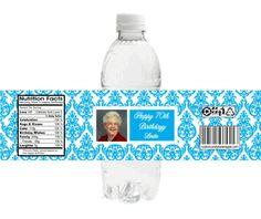 Brocade Photo Birthday Water Bottle Labels