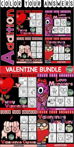 Valentine's Day Bundle for Addition Facts - Color Your Answers Printables for an ENTIRE MONTH for #Valentine #Addition, perfect for Valentine's Day Math in your classroom. - TWENTY-ONE No Prep Printables that can be used for your math center, small group, RTI pull out, seat work, substitute days or homework. #TpT #FernSmithsClassroomIdeas $