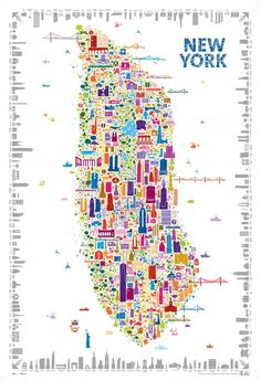 a fun and cool map of New York. Instead of lines on maps there are images to signify the features of New York