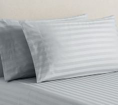 Jacquard Stripe 350-Thread-Count Extra Pillowcases, Set of 2, Standard, Gray