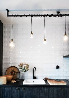 clustered pendant lights / to hang above half wall between kitchen & dining room? / Apartment Therapy